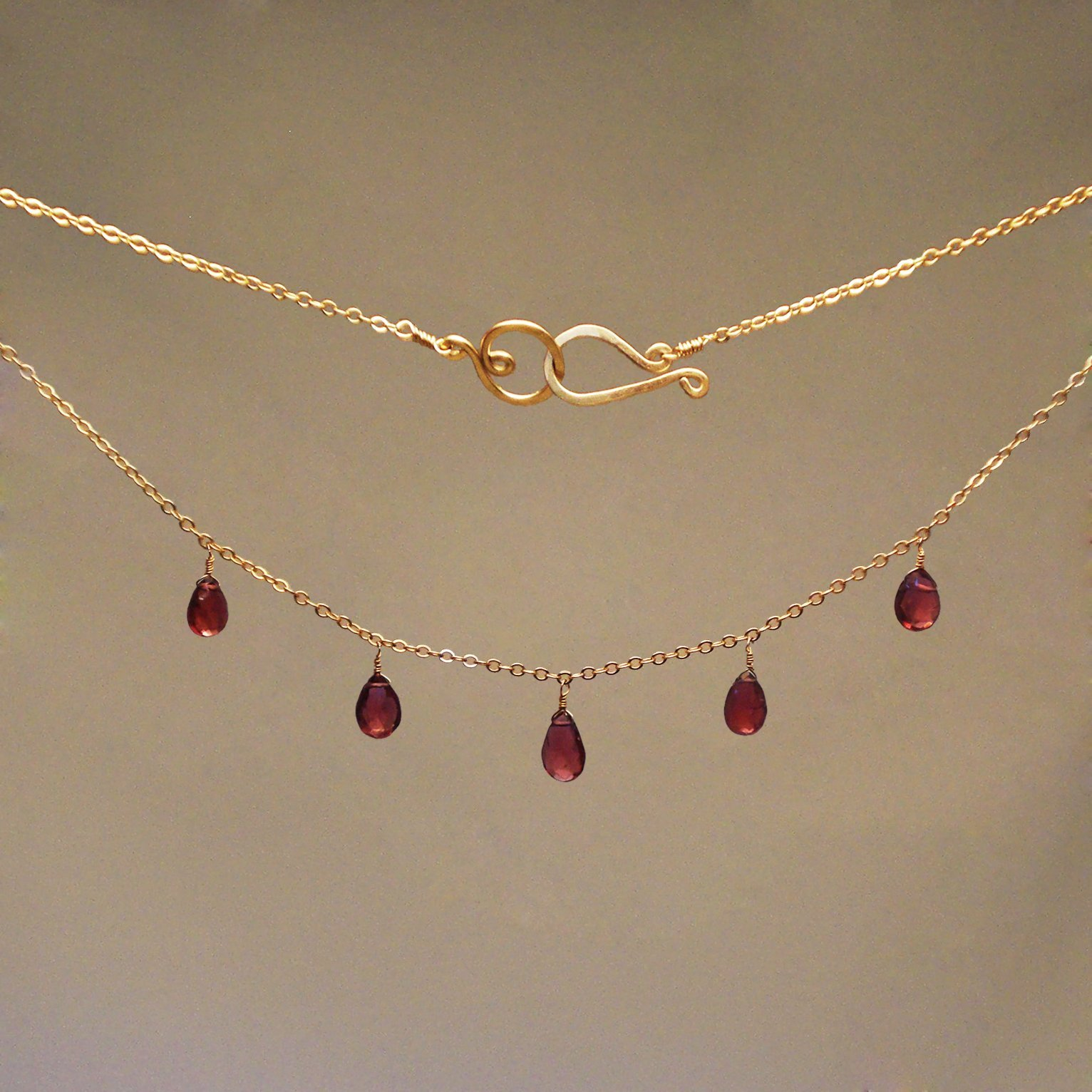 Garnet Gem Drop Necklace