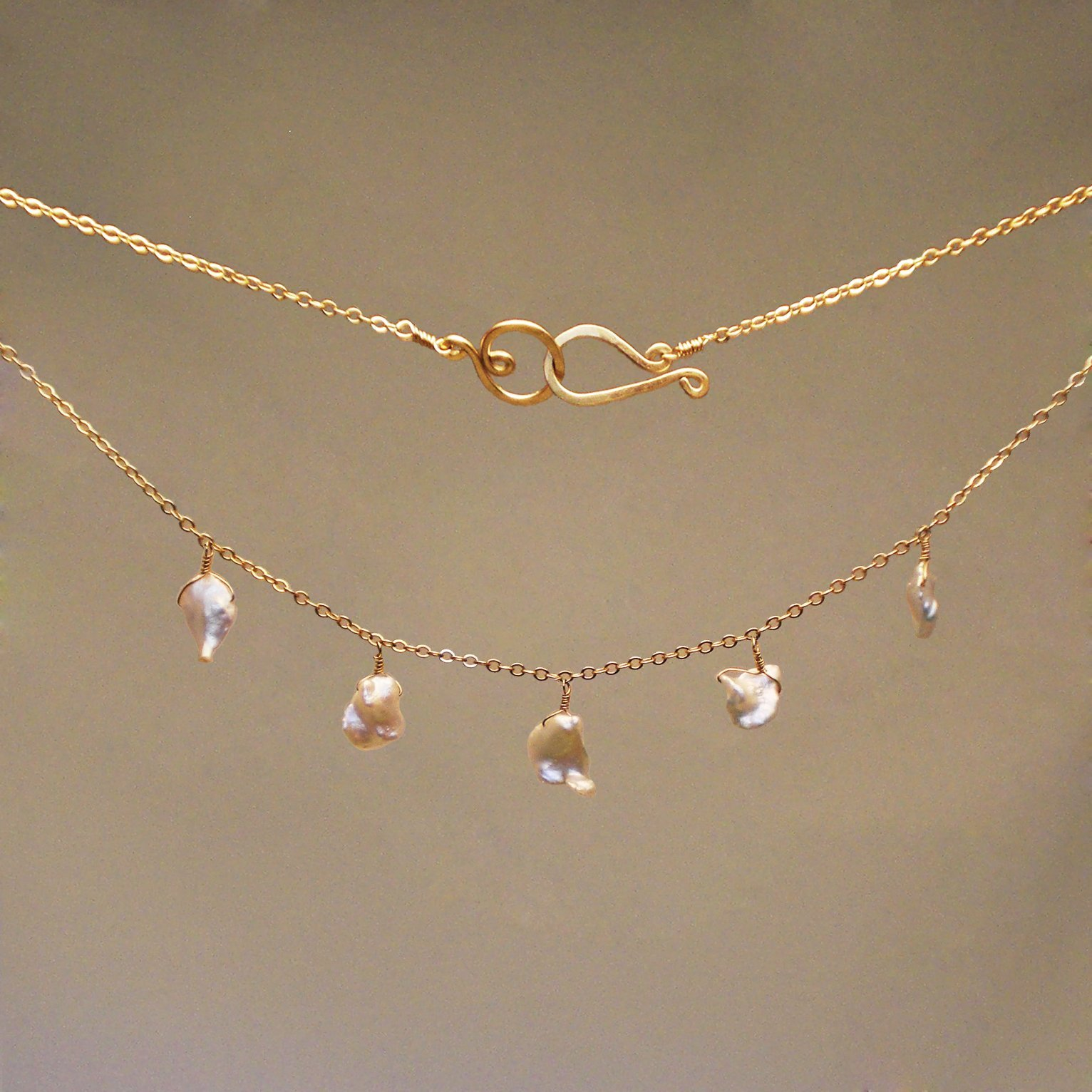 Pearl Gem Drop Necklace