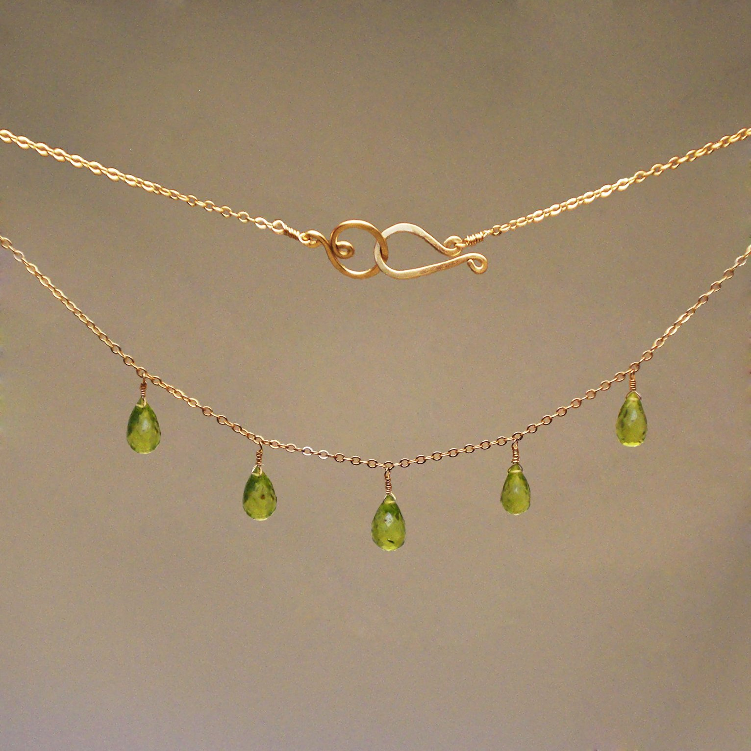 Peridot Gem Drop Necklace