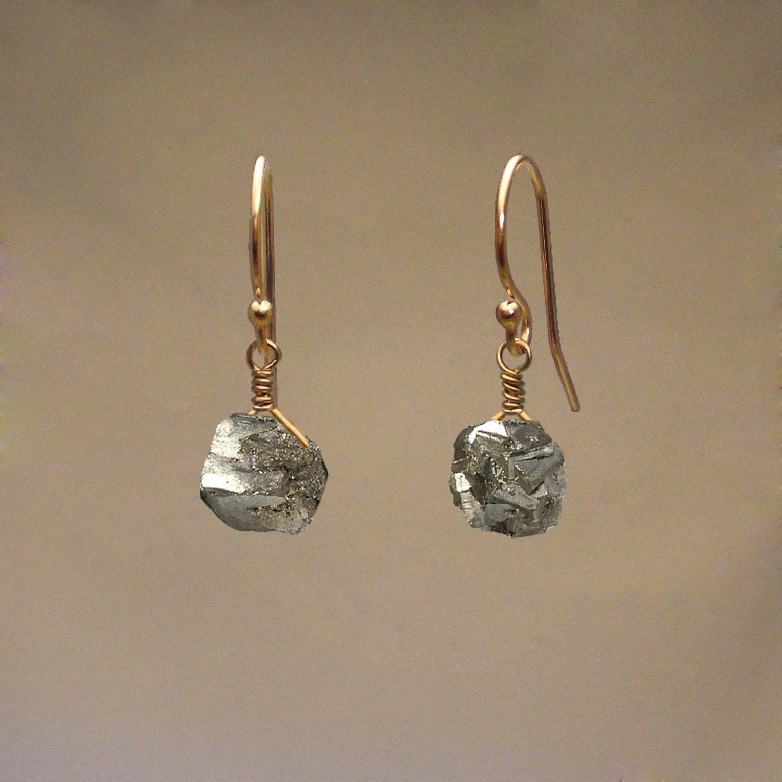 Pyrite Gem Drop Earrings