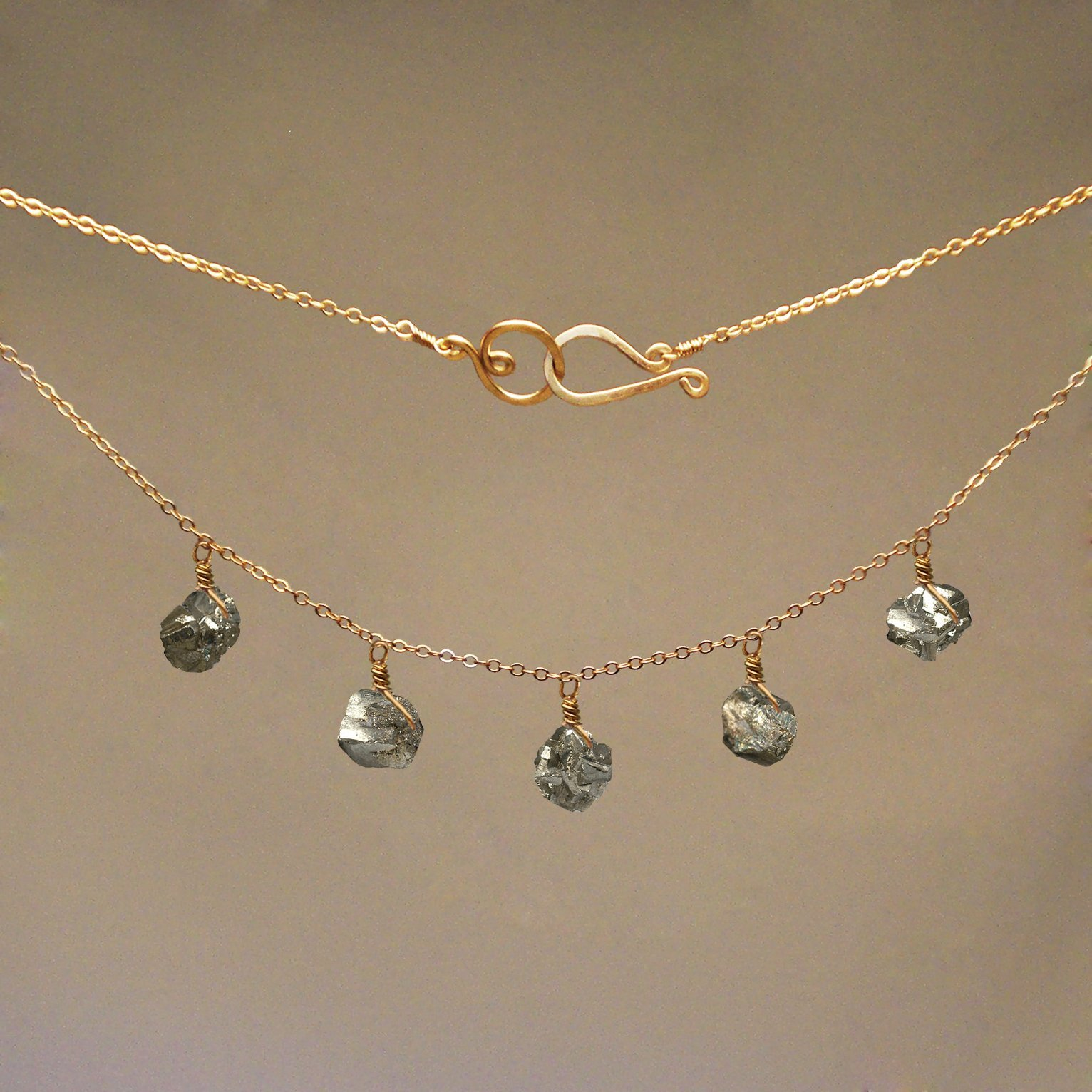 Pyrite Gem Drop Necklace