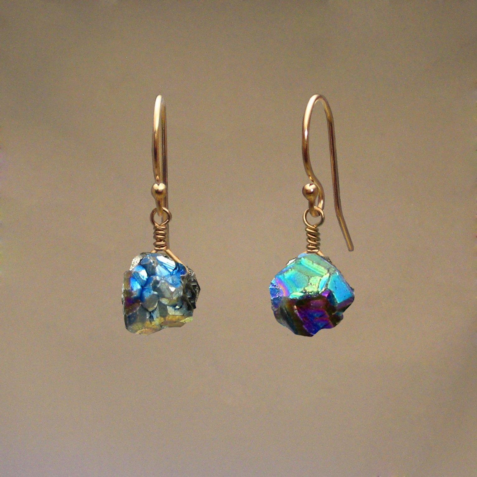 Rainbow Pyrite Gem Drop Earrings