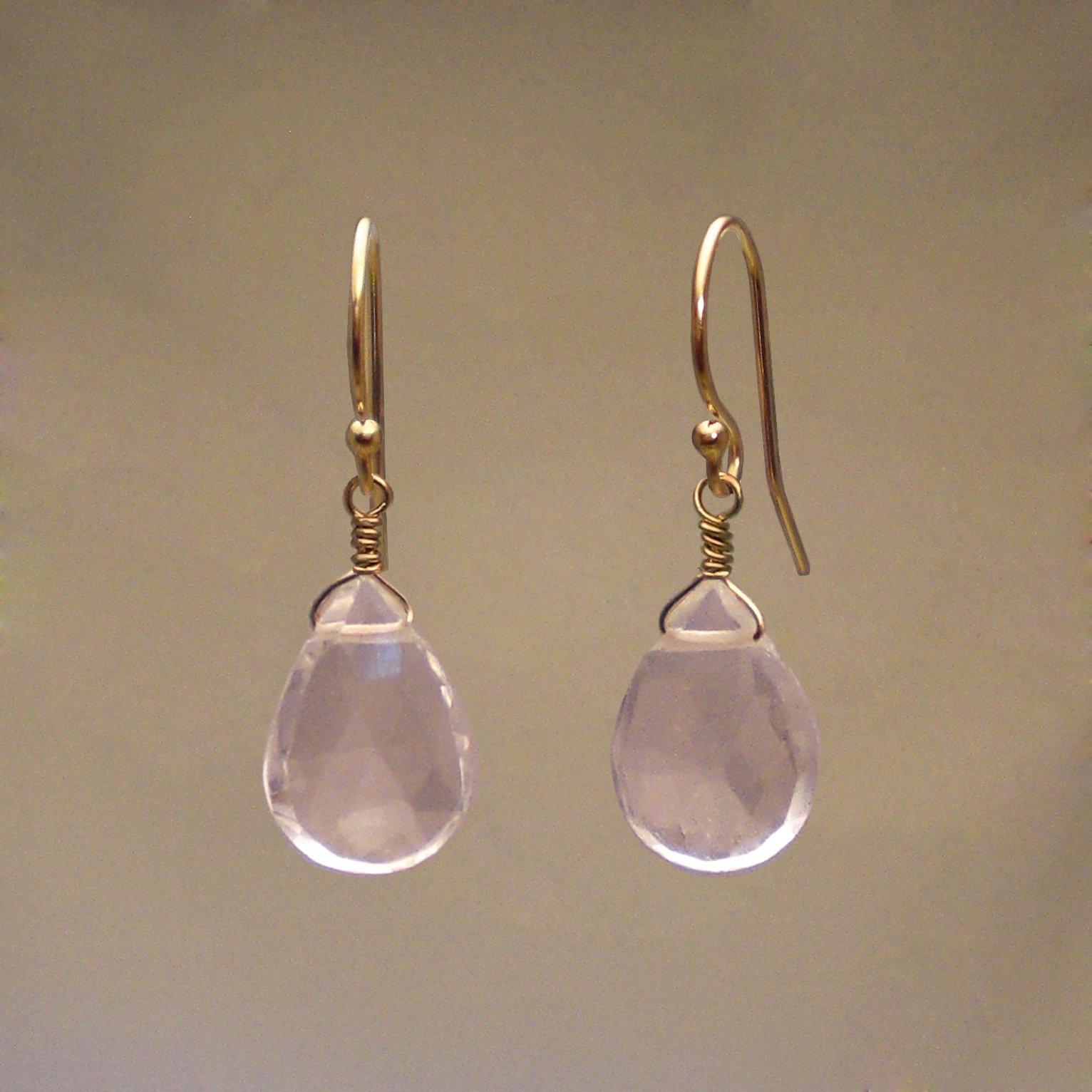 Rose Quartz Gem Drop Earrings