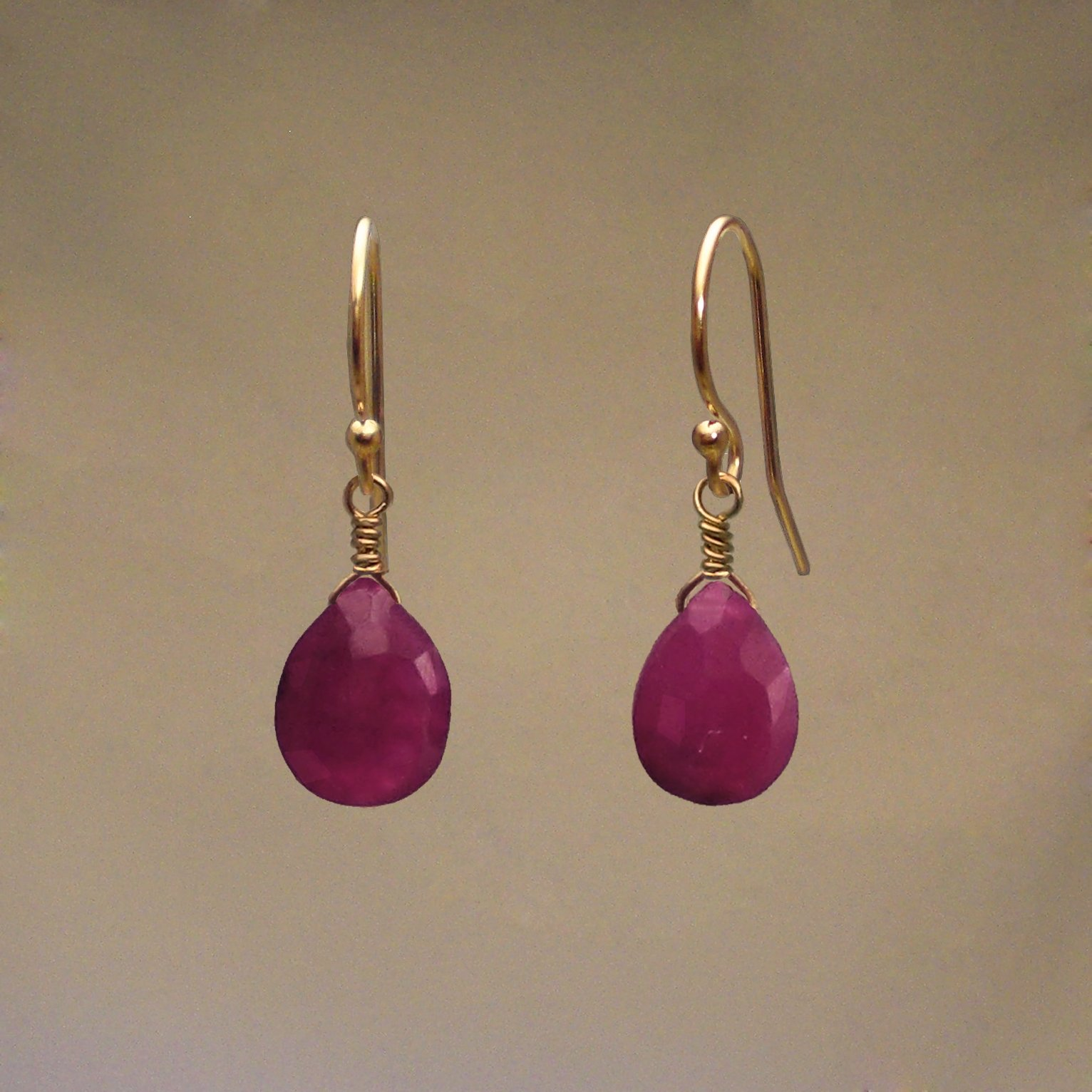 Ruby Gem Drop Earrings