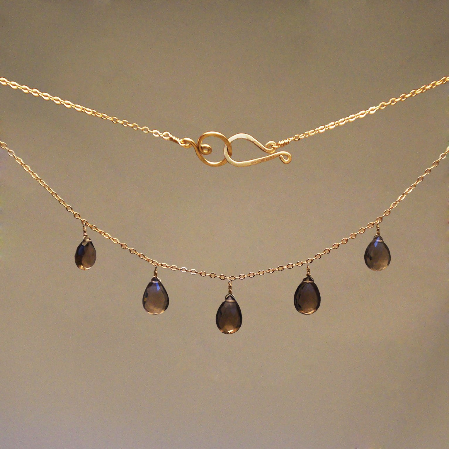 Smoky Quartz Gem Drop Necklace