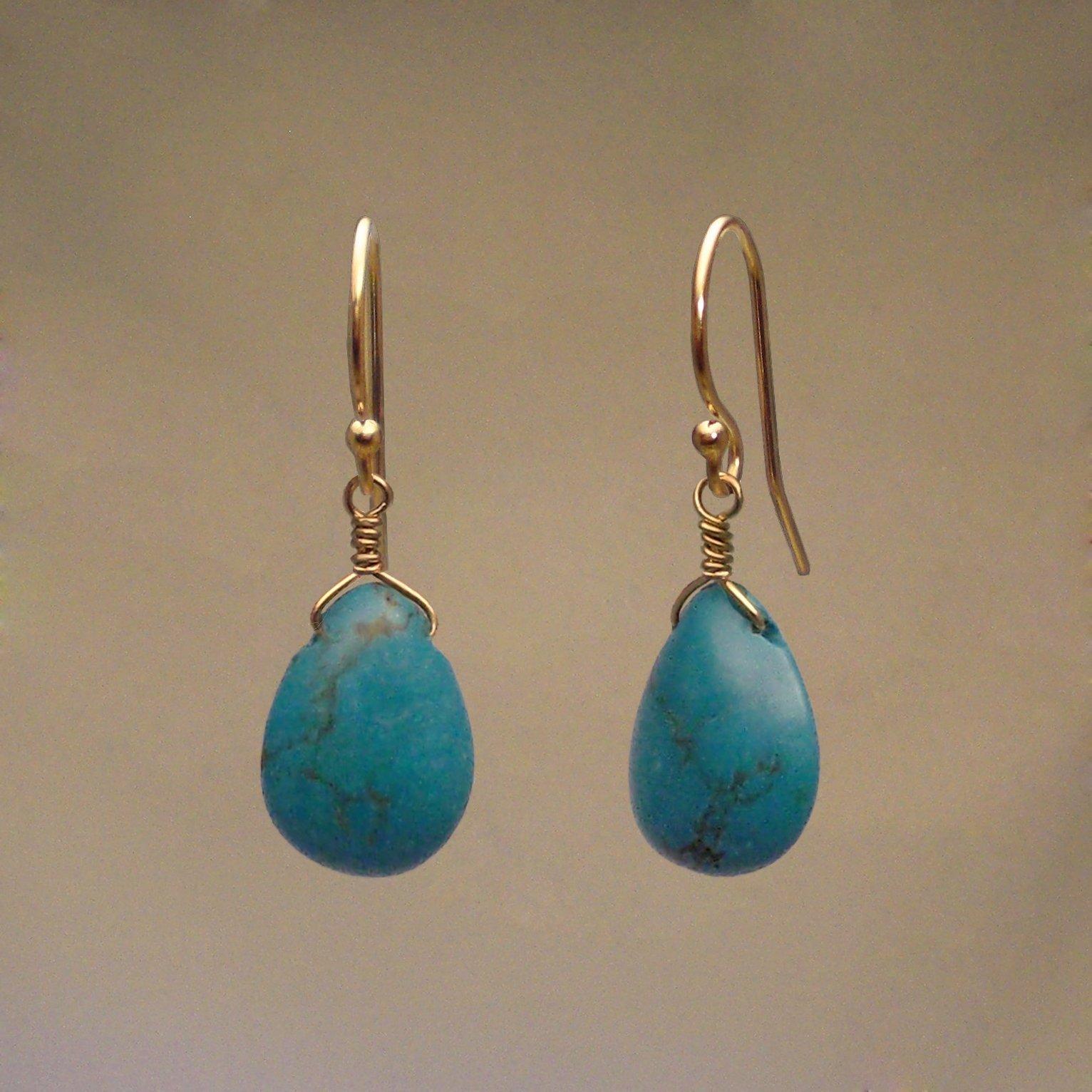 Turquoise Gem Drop Earrings