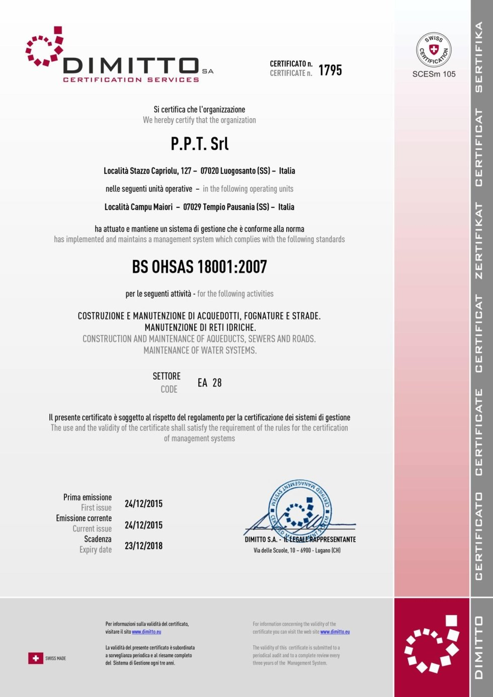 CERTIFICATO BS OHSAS 18001-2007