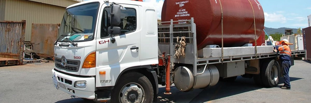 fnq crane trucks load truck with container