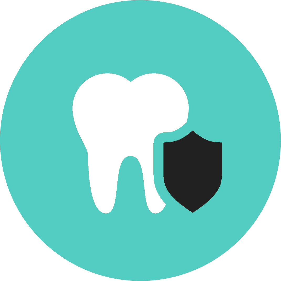 icon of a tooth with a shield