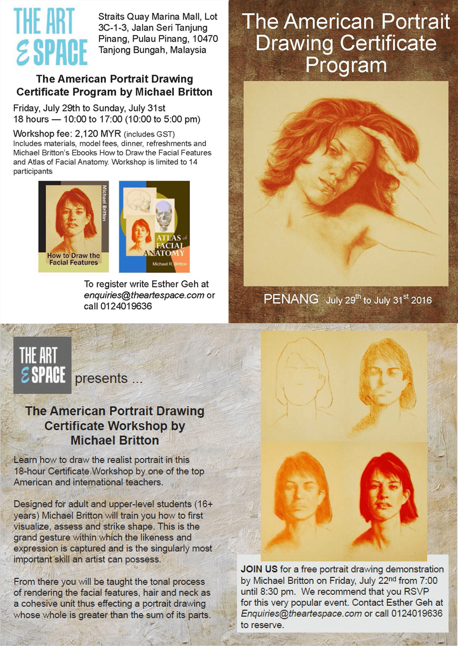 The American Portrait Drawing Certificate Program by Michael Britton TAES Art Facility in Penang Malaysia