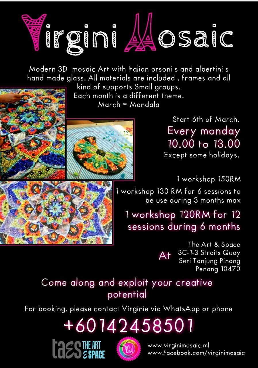 Art workshop for kids Penang The Art E Space Virgini Mosaic Workshop