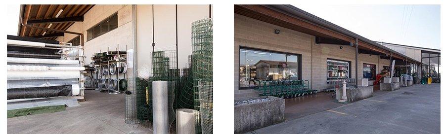 due foto dell'esterno di uno stabile