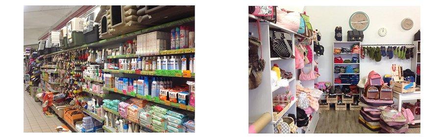 dei prodotti in bottiglia, delle borse e altro vestiario