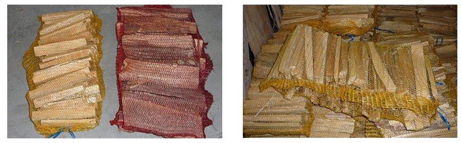della legna confezionata dentro a delle reti