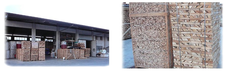 della legna dentro a delle strutture in legno