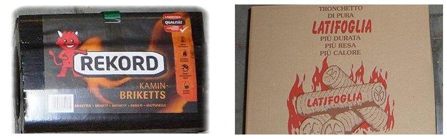 due confezioni di legna una con un diavoletto rosso con scritto Rekord e l'altra con scritto Tronchetto di pura latifoglia