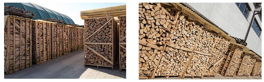 della legna dentro a delle strutture di legno