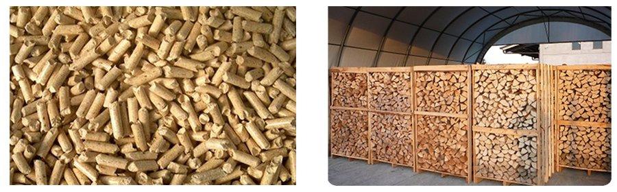 del pellet e della legna