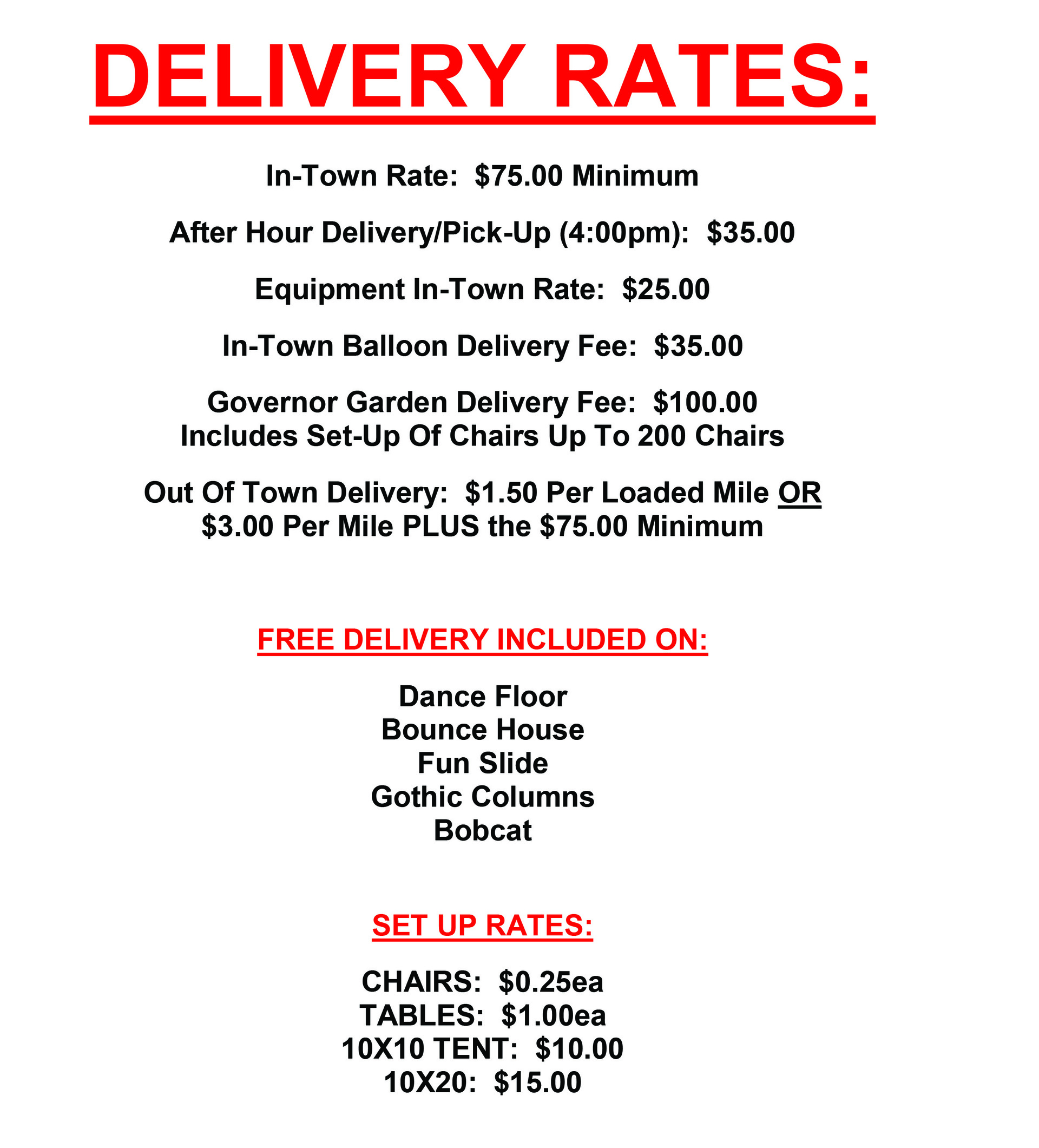 House of Bargains Delivery Rates