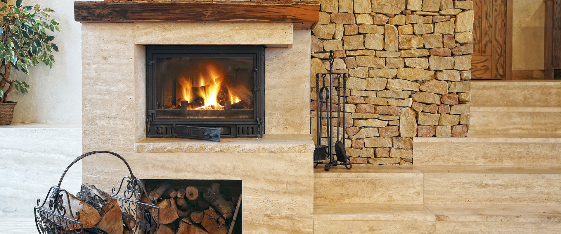 Stylish fireplace