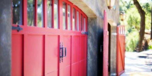 Red colored residential garage door