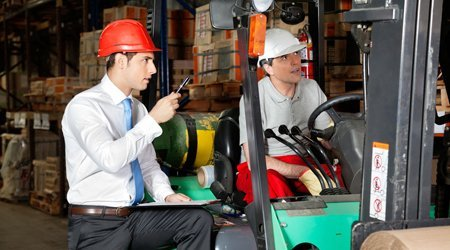 explaining the forklift controls