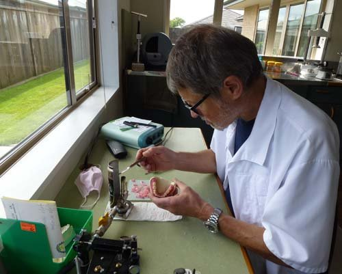 Professional working with denture