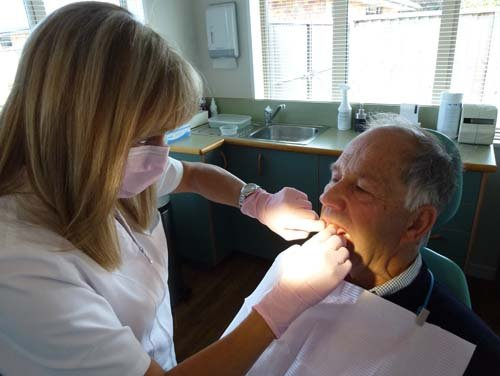 Patient getting treated by professional