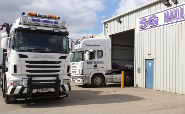 Vehicles leaving the Haulage depot