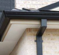 all oz roof plumbing black painted roof gutter