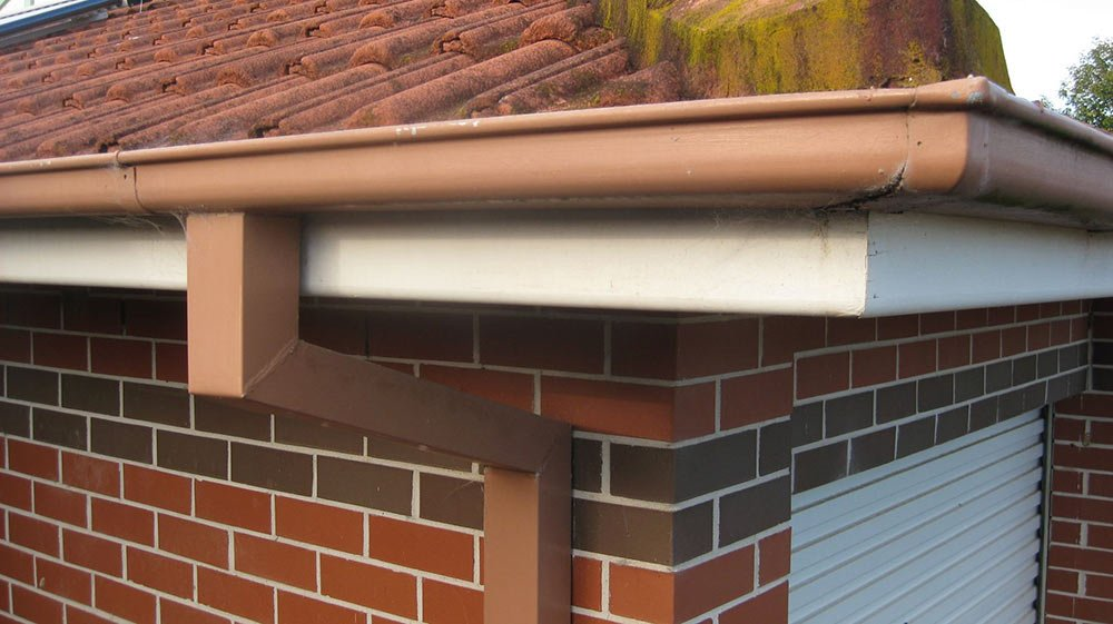 all oz roof plumbing brown roof gutter installed