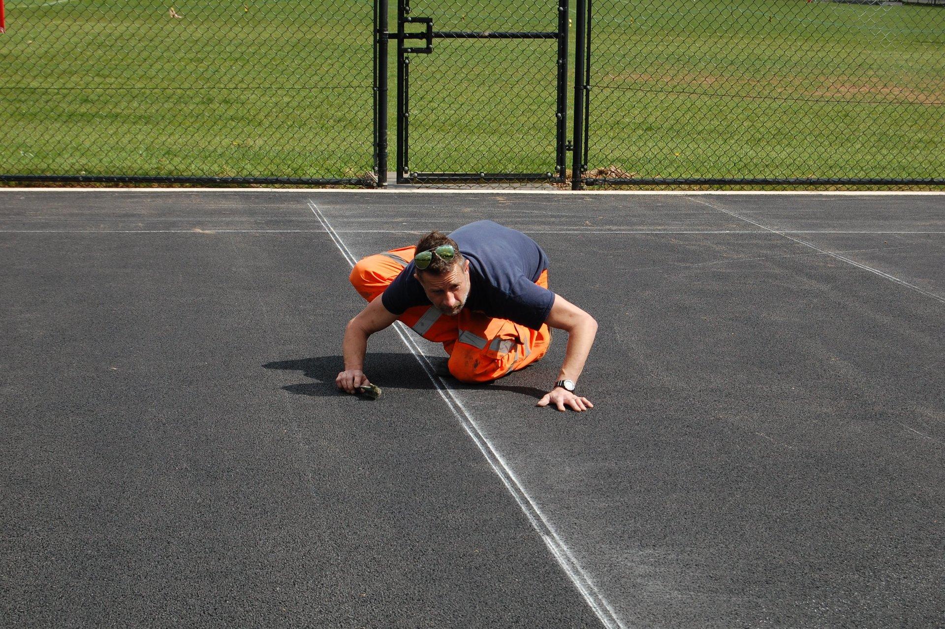 asphalt tennis court