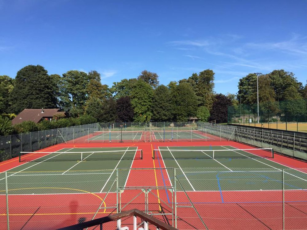 Clay and turf tennis court