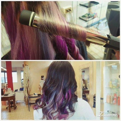 capelli mossi con colori sfumati al viola