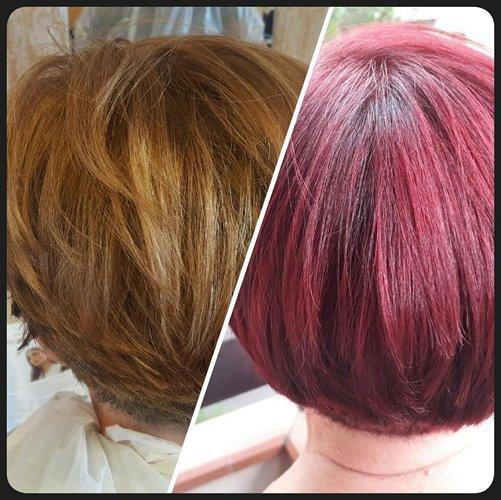 prima e dopo l`applicazione del colore