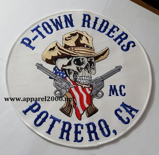 Biker skull and pistols patch