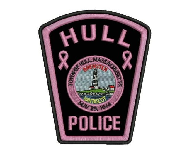 Pink police patch for fundraising