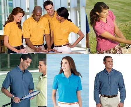 Custom polo shirt selection.