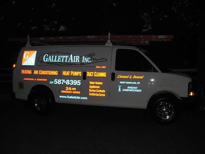 gallett air inc. service van at night