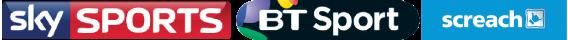 Sky Sports, BT Sport and Screach logos