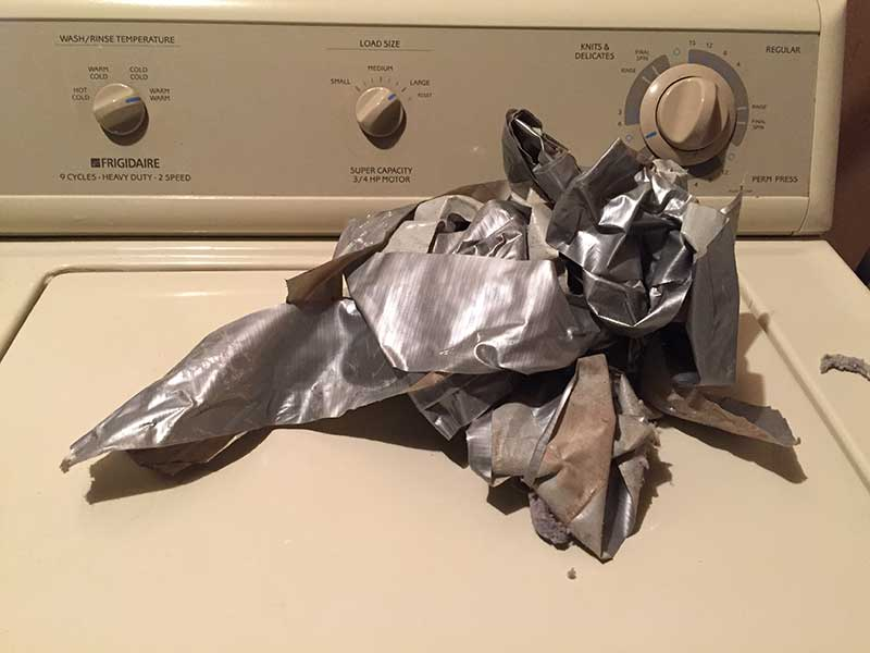 duct tape on dryer machine