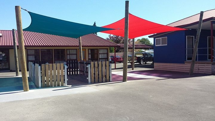 school yard with awnings