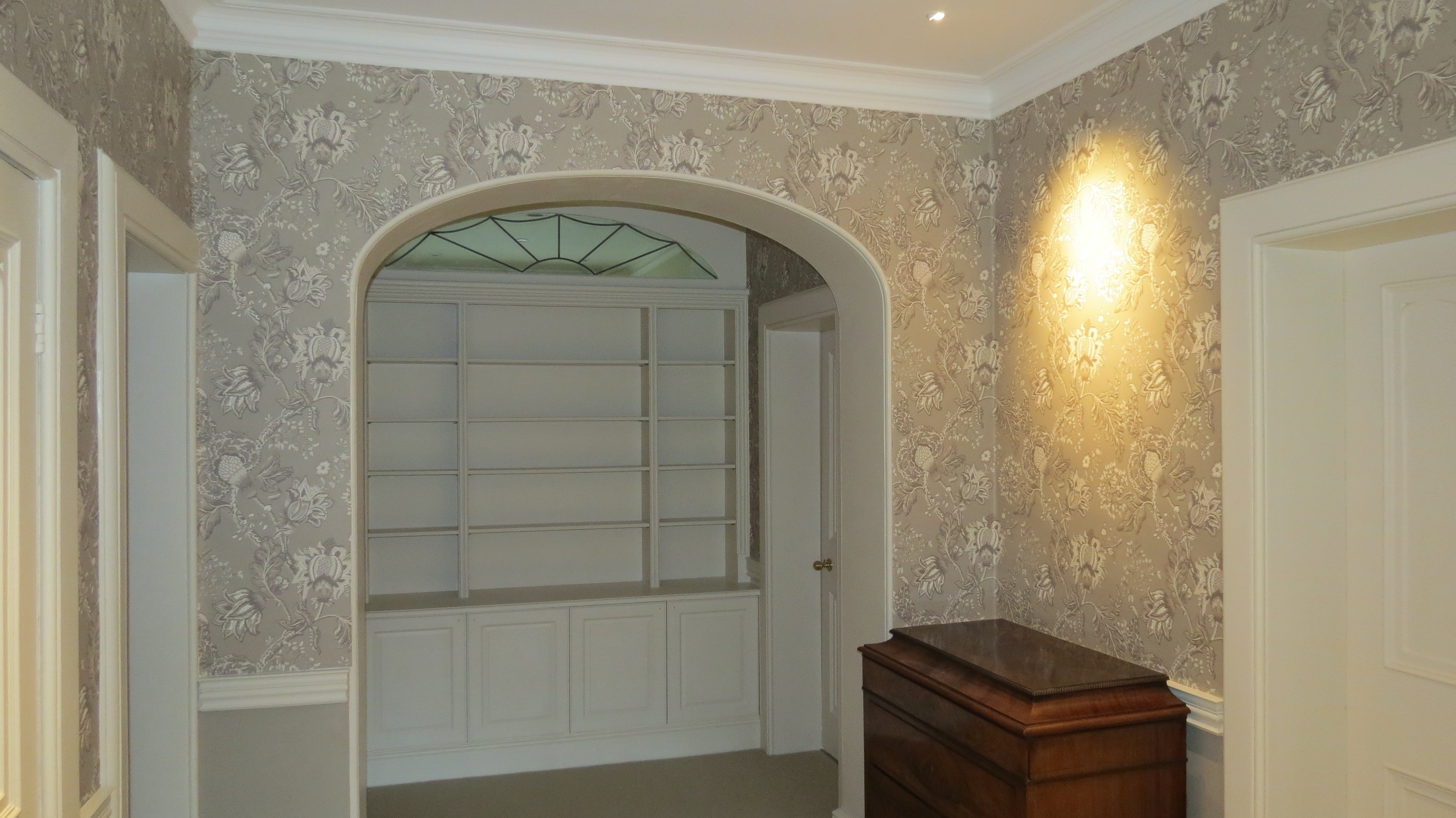 Wallpapered entrance hall in Norfolk