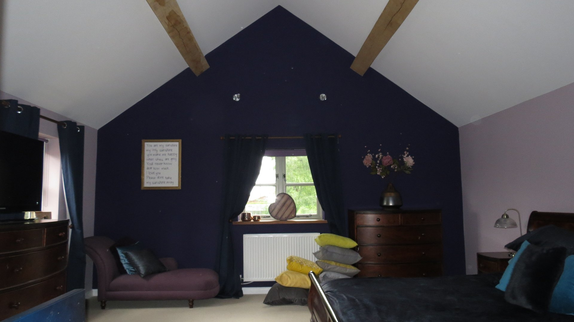 Bedroom decorated in farrow and ball colours