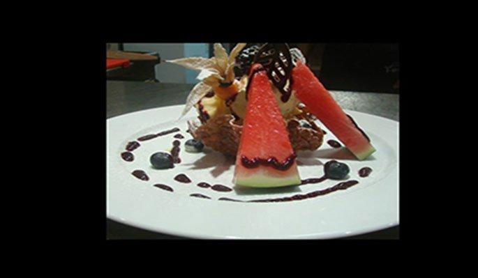 dessert con anguria e ciuccolato