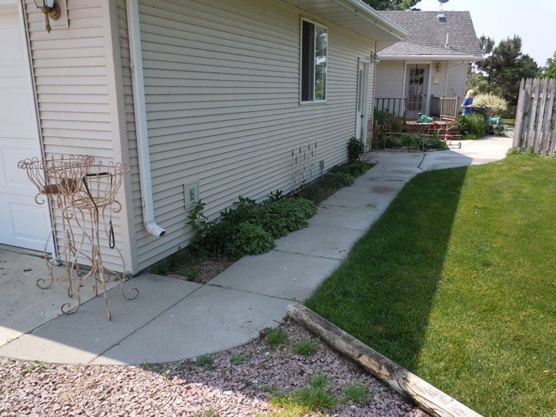 landscaping, sidewalk project, before and after