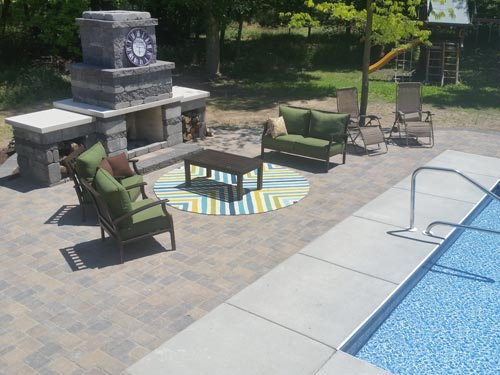 fire pit by pool, pool fire pit