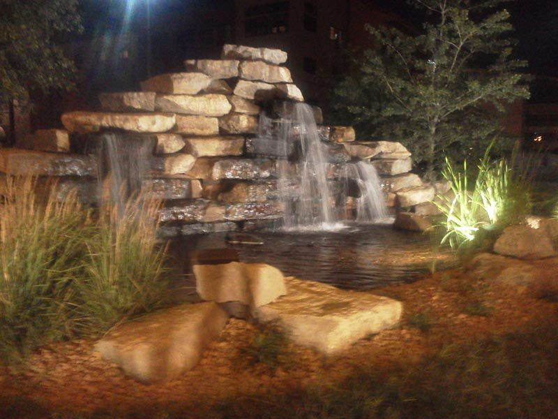 waterfall night lighting