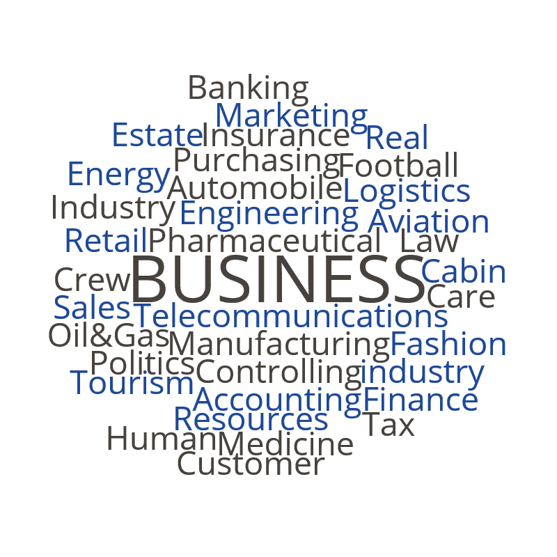 Marketing, Finance, Controlling, Sales, Purchasing, Automobile, Fashion, Accounting, Human Resources, Insurance, Automobile, Banking, Customer Care, Energy Industry, Logistics, Real Estate, Tax, Telecommunications, Tourism, Oil&Gas, Engineering, Aviation, Medicine, Football, Cabin Crew, Pharmaceutical industry, IT, Law, Politics, Retail, Manufacturing