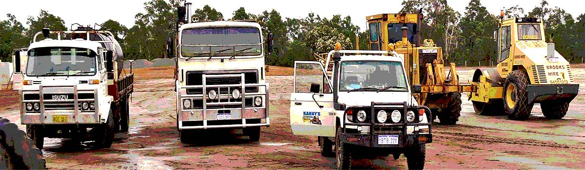 Earthmoving company trucks in Western Australia